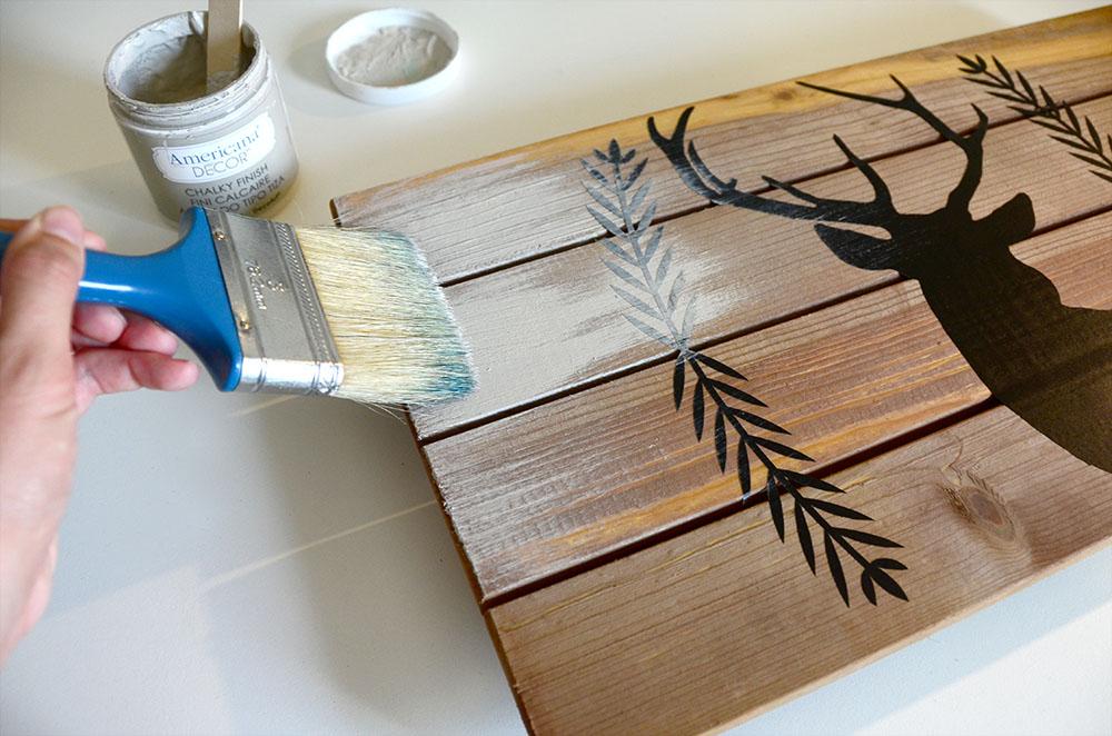 Dry brush painting technique.